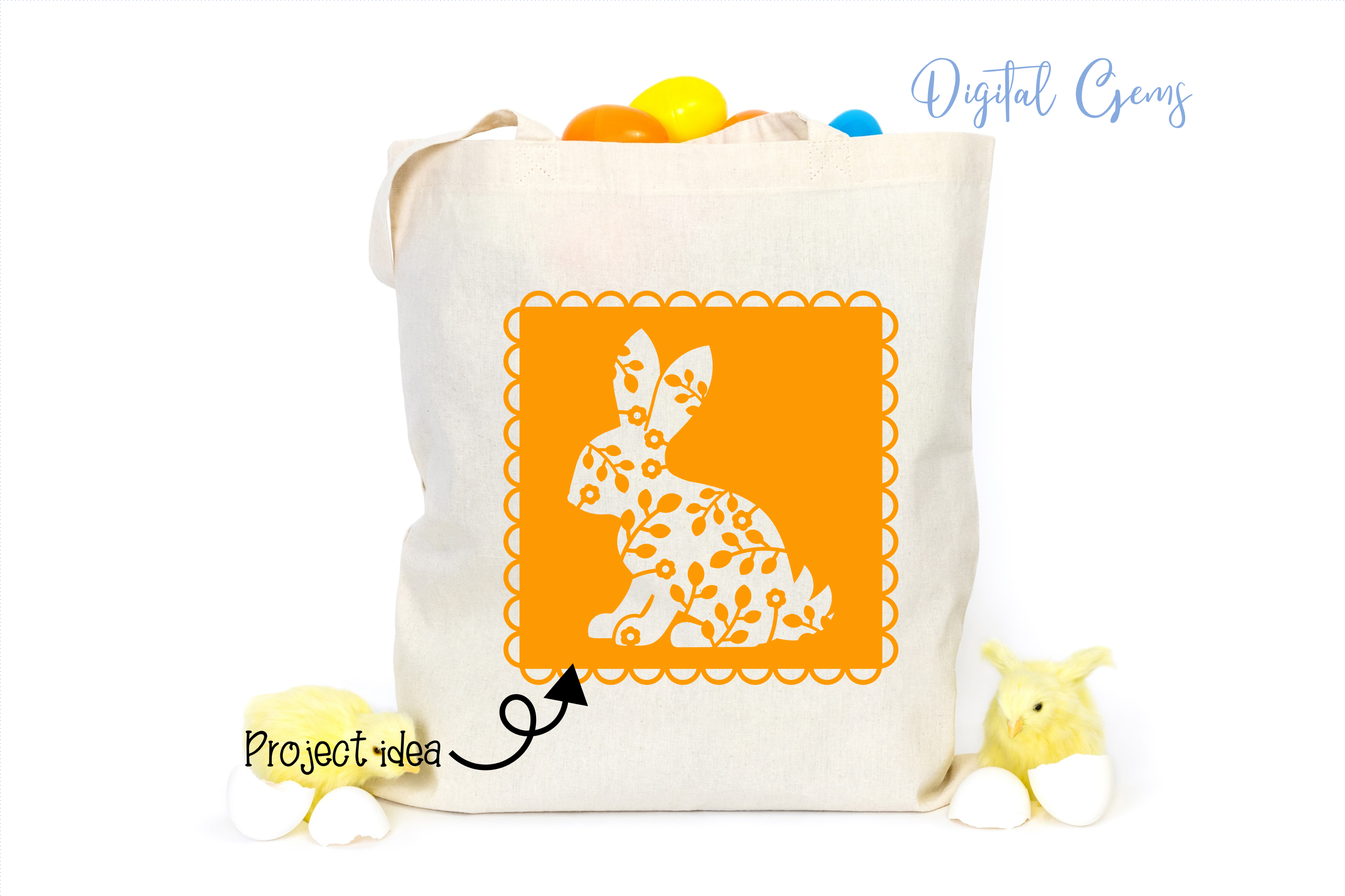 Rabbit paper cut design. SVG / DXF / EPS / PNG files example image 3