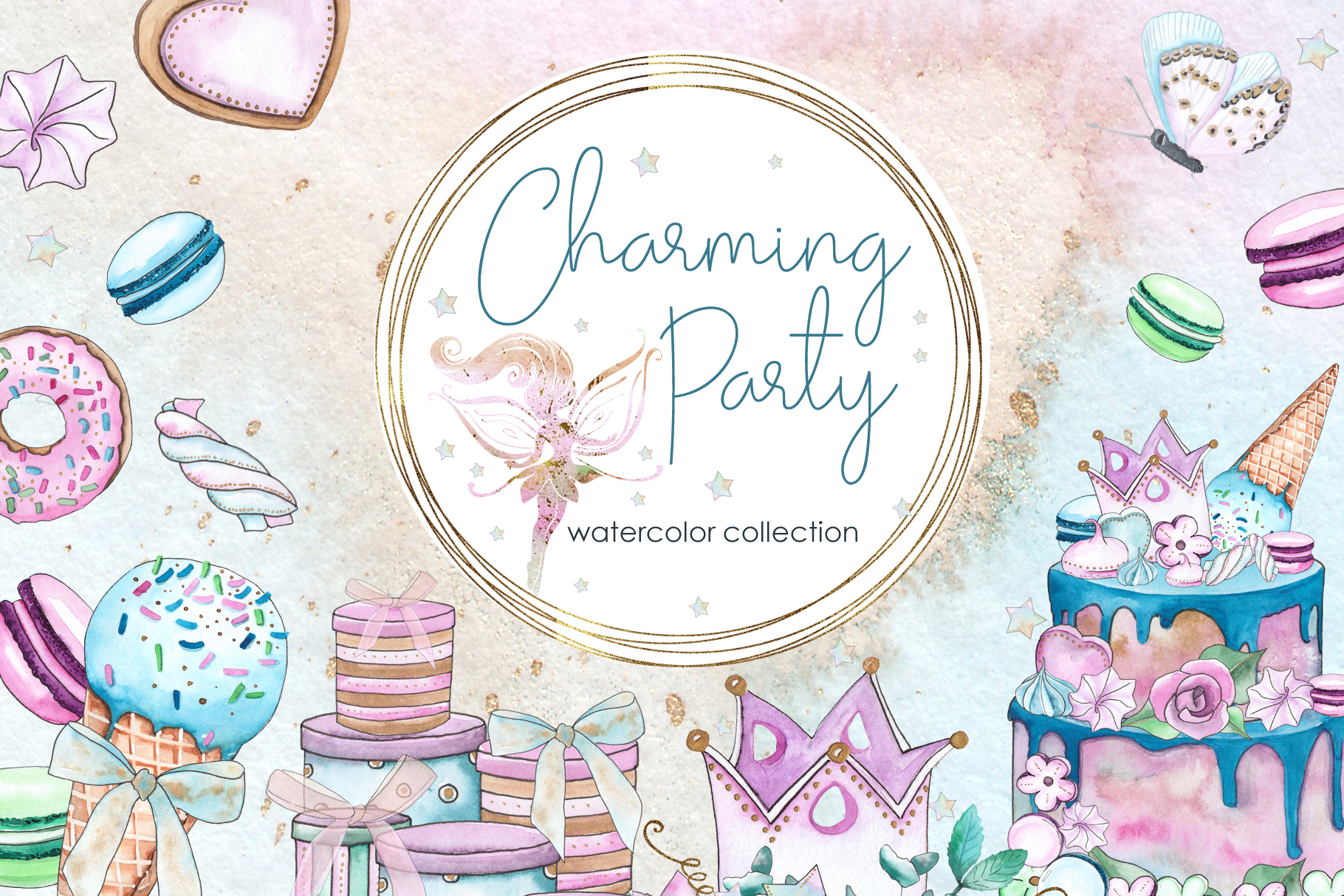 Charming party. Watercolor collection example image 1