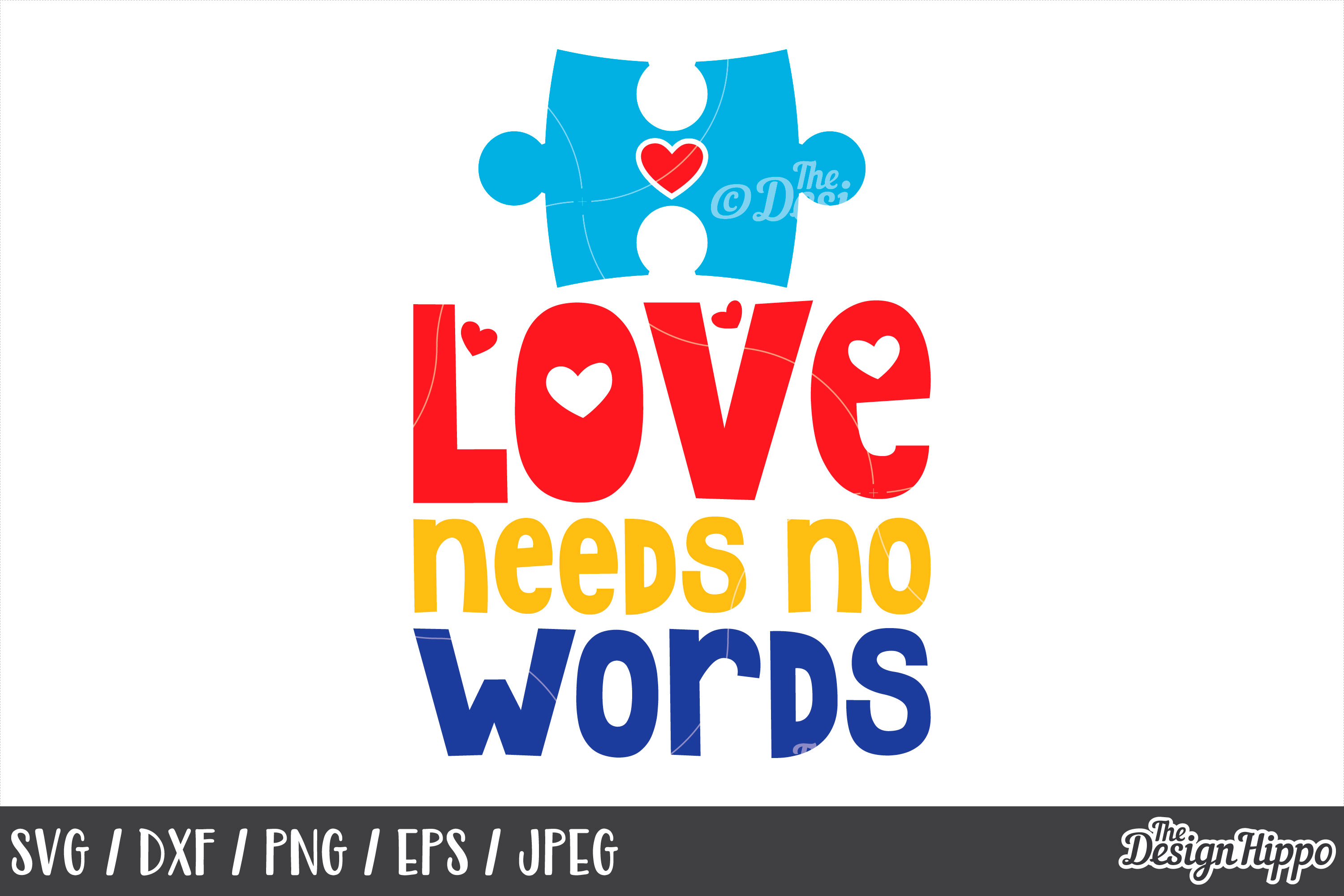 Love Needs No Words, Puzzle Piece, Heart, SVG DXF PNG Files example image 1