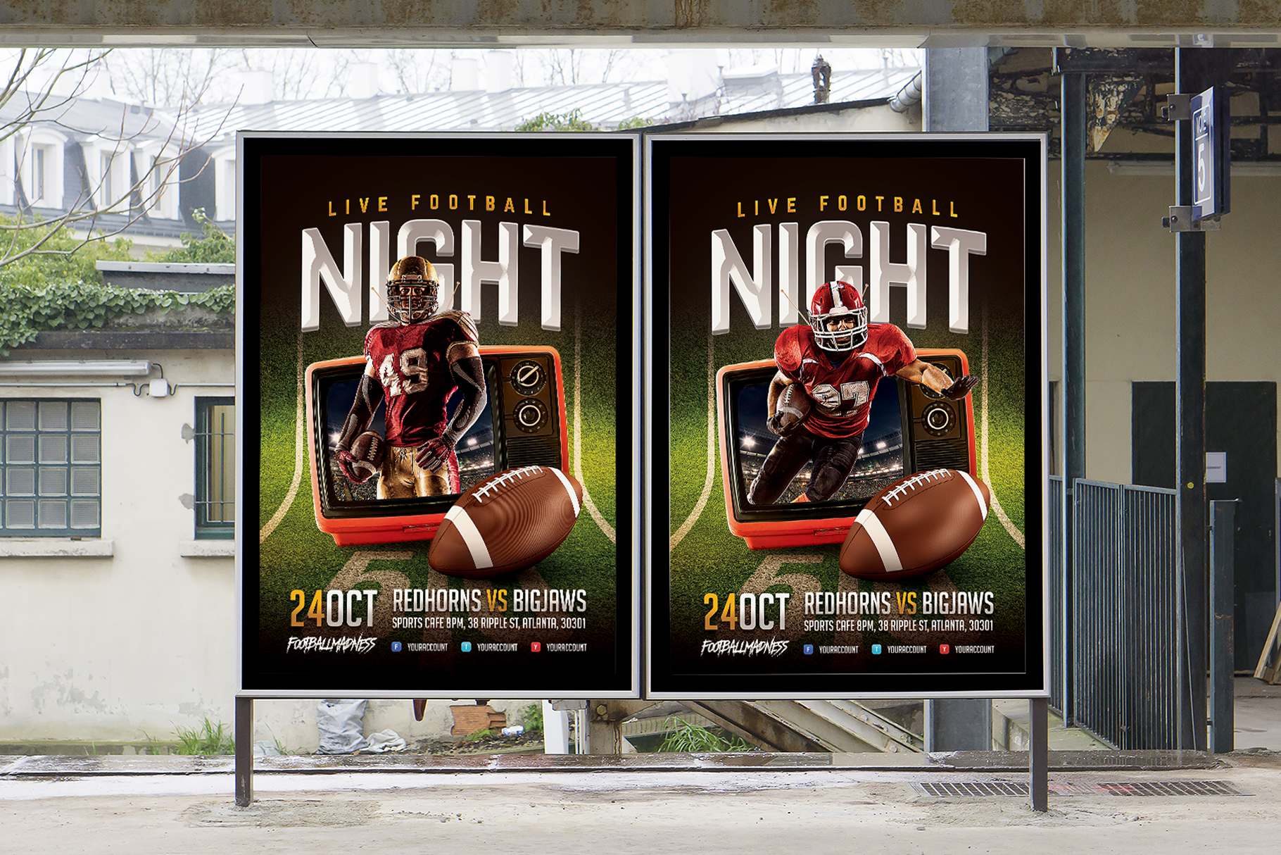 Live Football Flyer Template example image 4