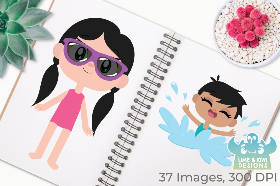 Pool Party Girls Clipart, Instant Download Vector Art example image 3