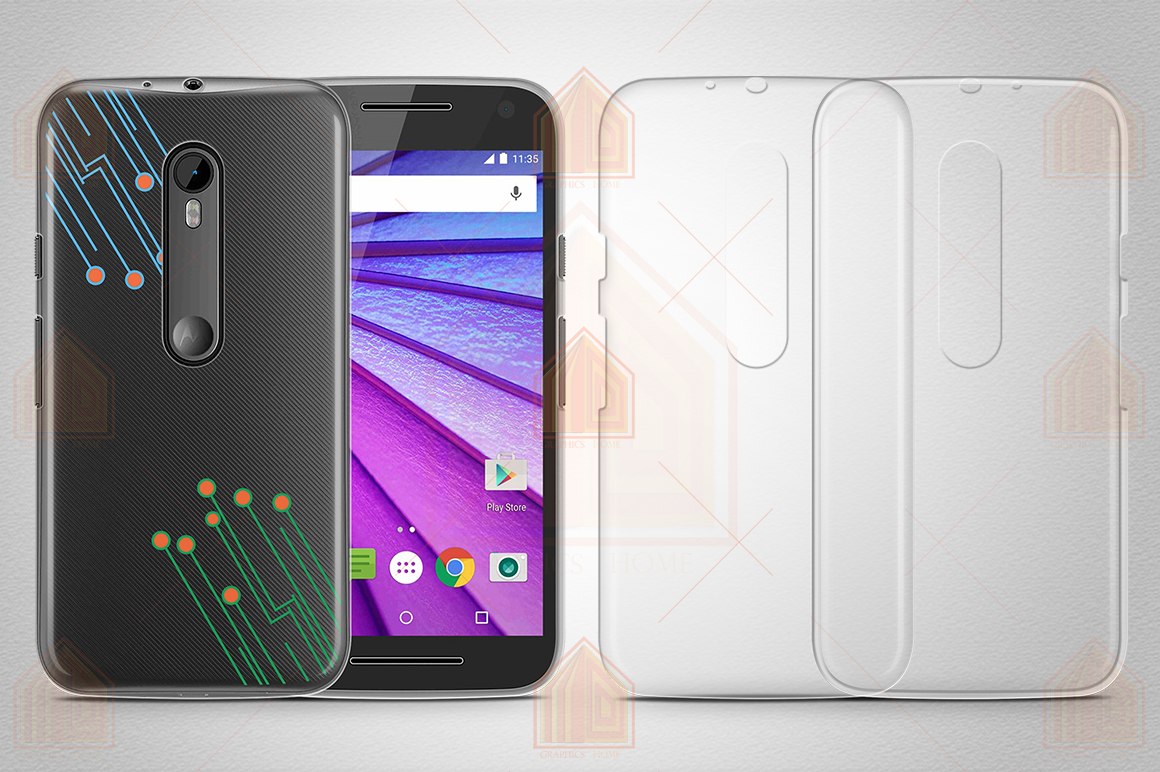 MOTO G3 TPU Case Mockup Back-Front View example image 2