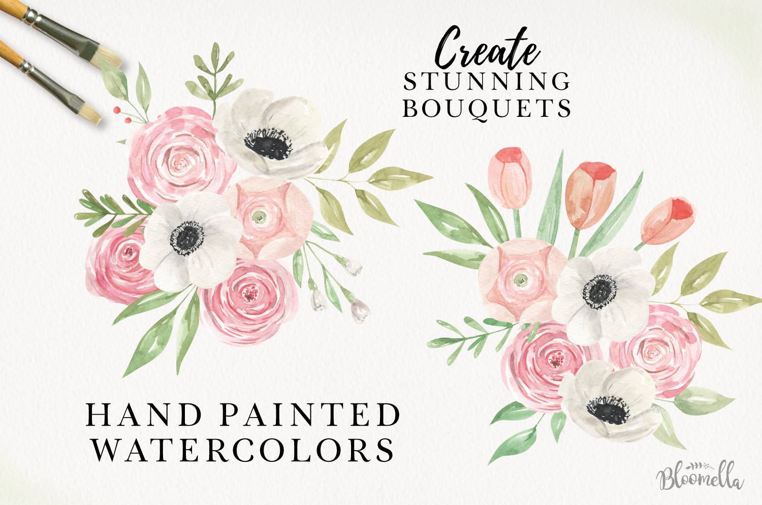Sprung Watercolor Elements Flowers Pink Tulips Spring Peach example image 2