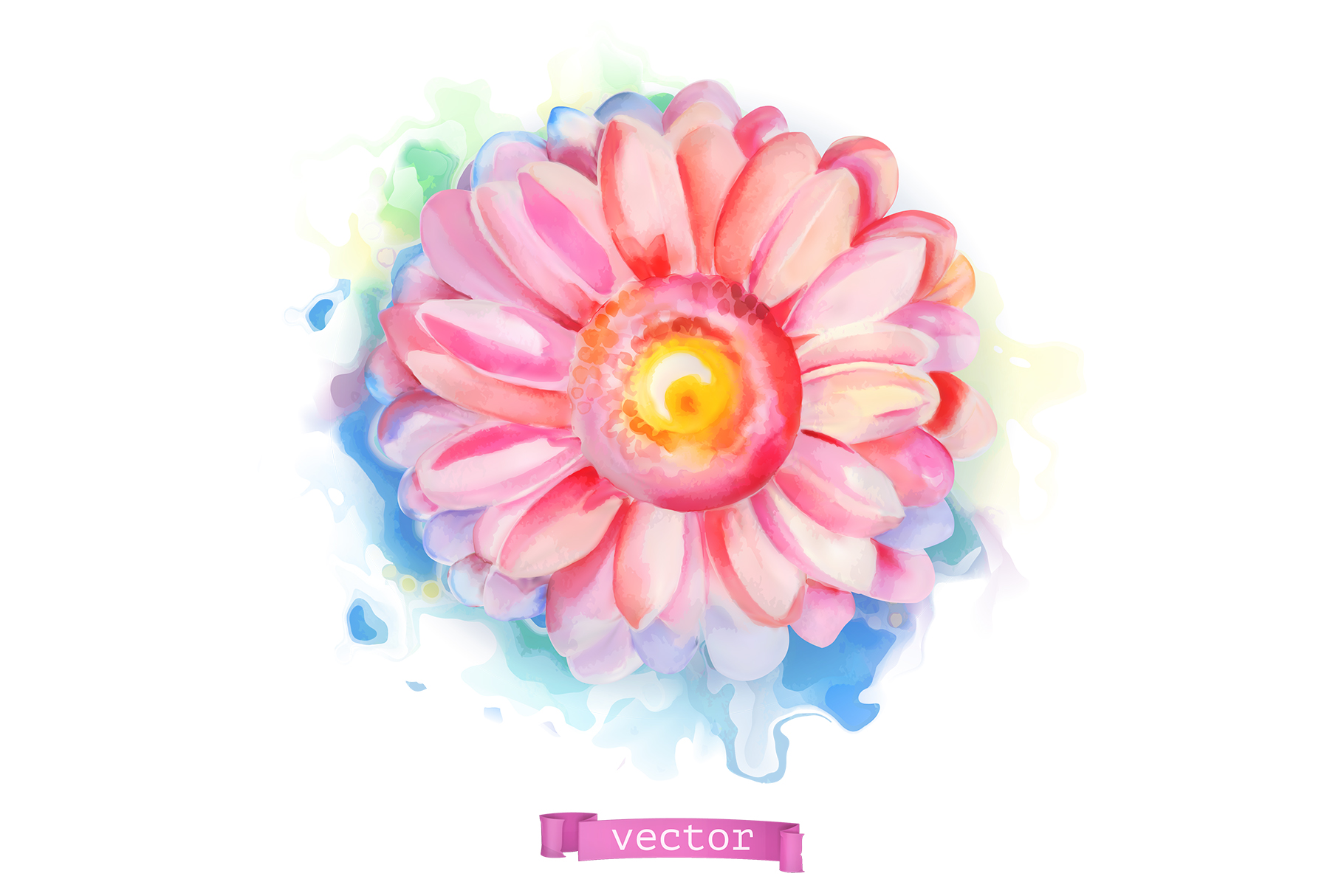 Flowers set. Rose and other plants. Watercolor, vector icons example image 7