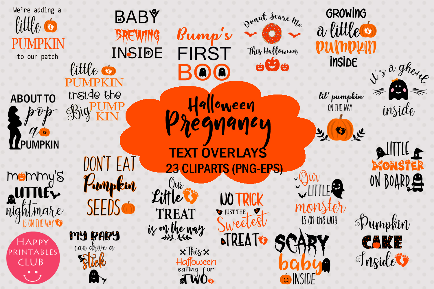 Halloween Pregnancy Announcement Text Overlays Clipart example image 1