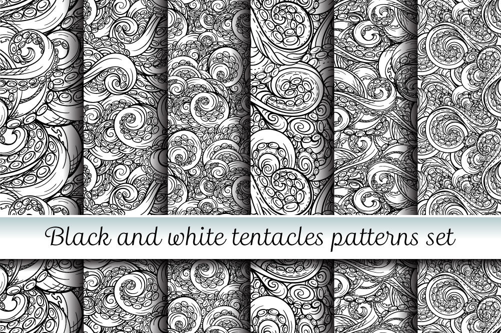 Black and white tentacles patterns set example image 1