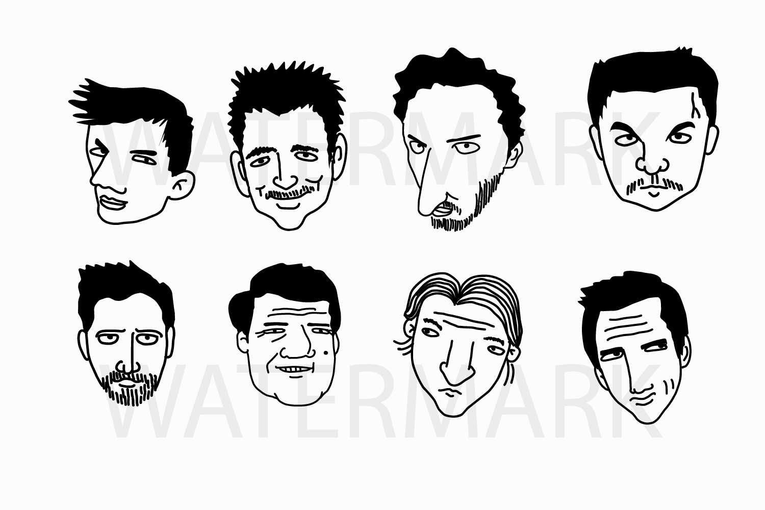 Face Set B - SVG/JPG/PNG Hand Drawing example image 1