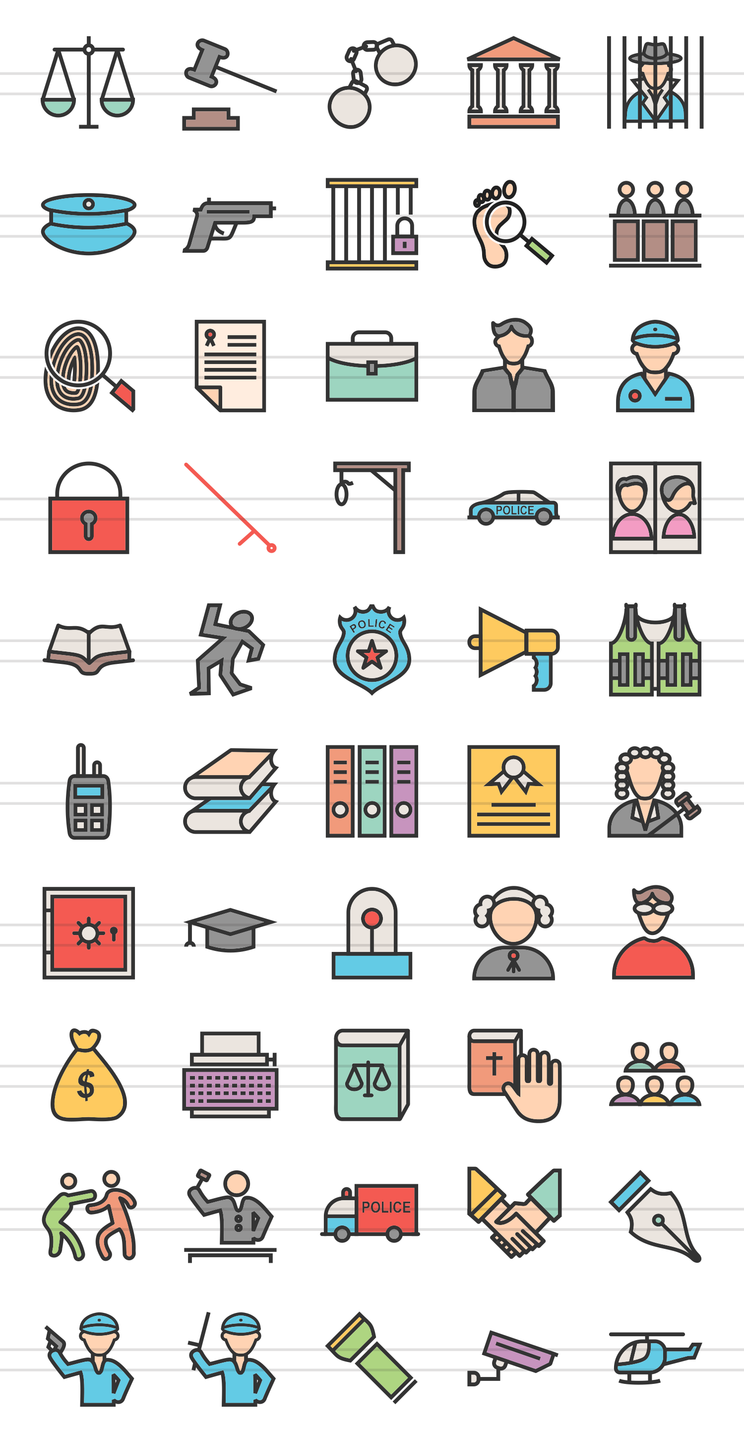 50 Law & Order Linear Multicolor Icons example image 2