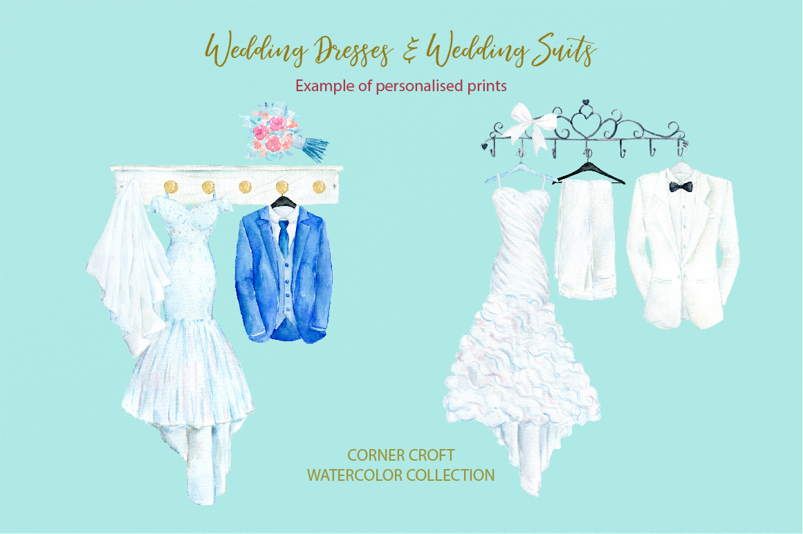 Watercolor wedding outfit on hangers and cloth hooks example image 5
