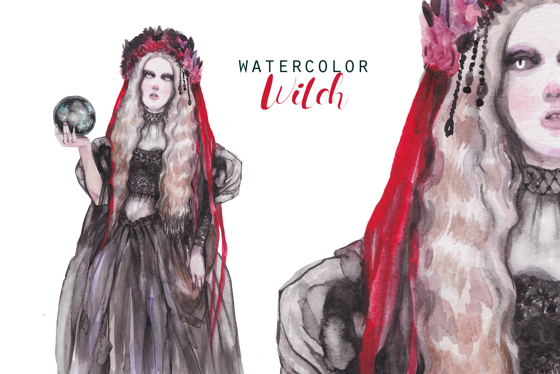 Halloween Witch with veil and glass ball,watercolor portrait example image 1