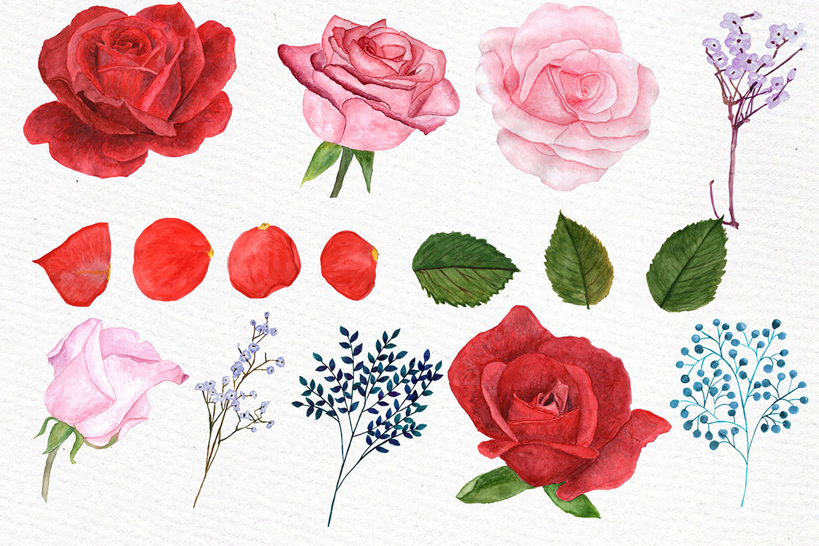 Watercolor Roses Clipart example image 2