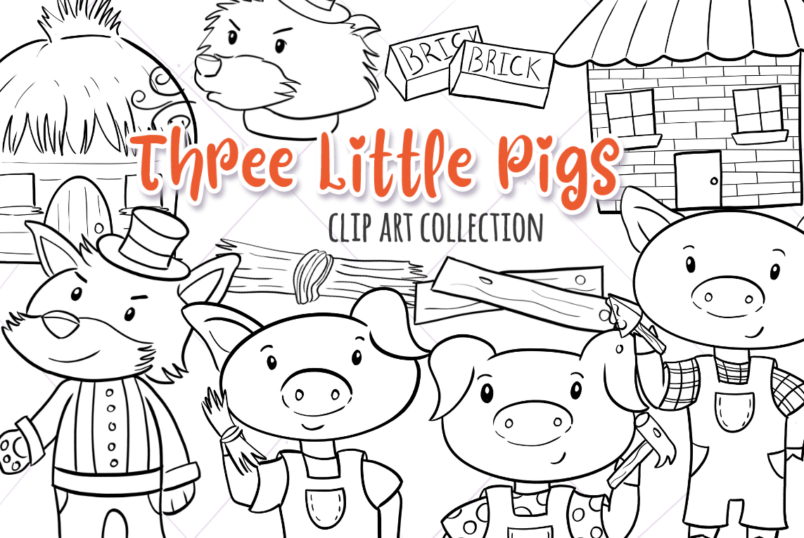 Three Little Pigs Digital Stamps example image 1