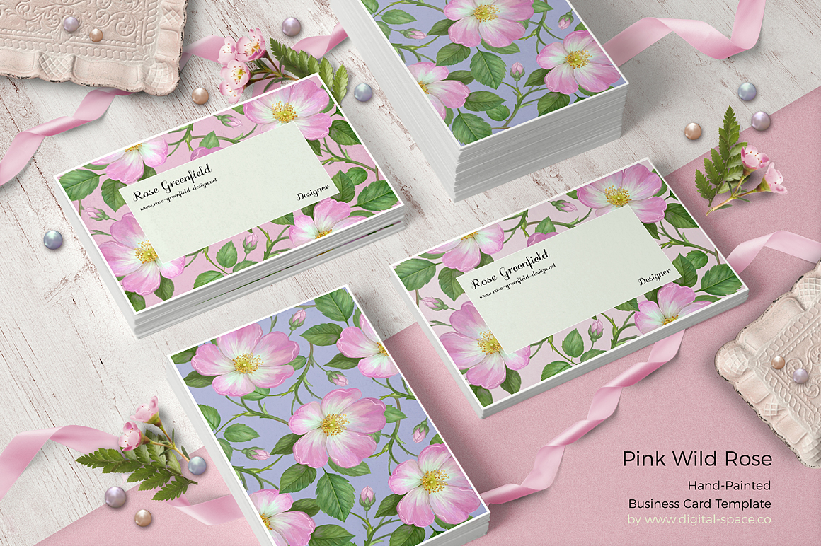 Pink Wild Rose PSD Business Card Template example image 1