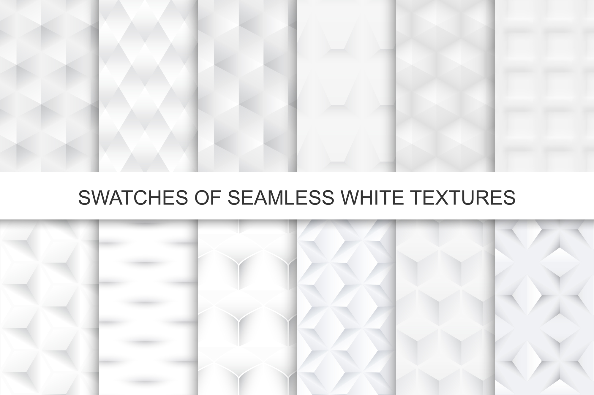 Swatches of seamless white textures. example image 1