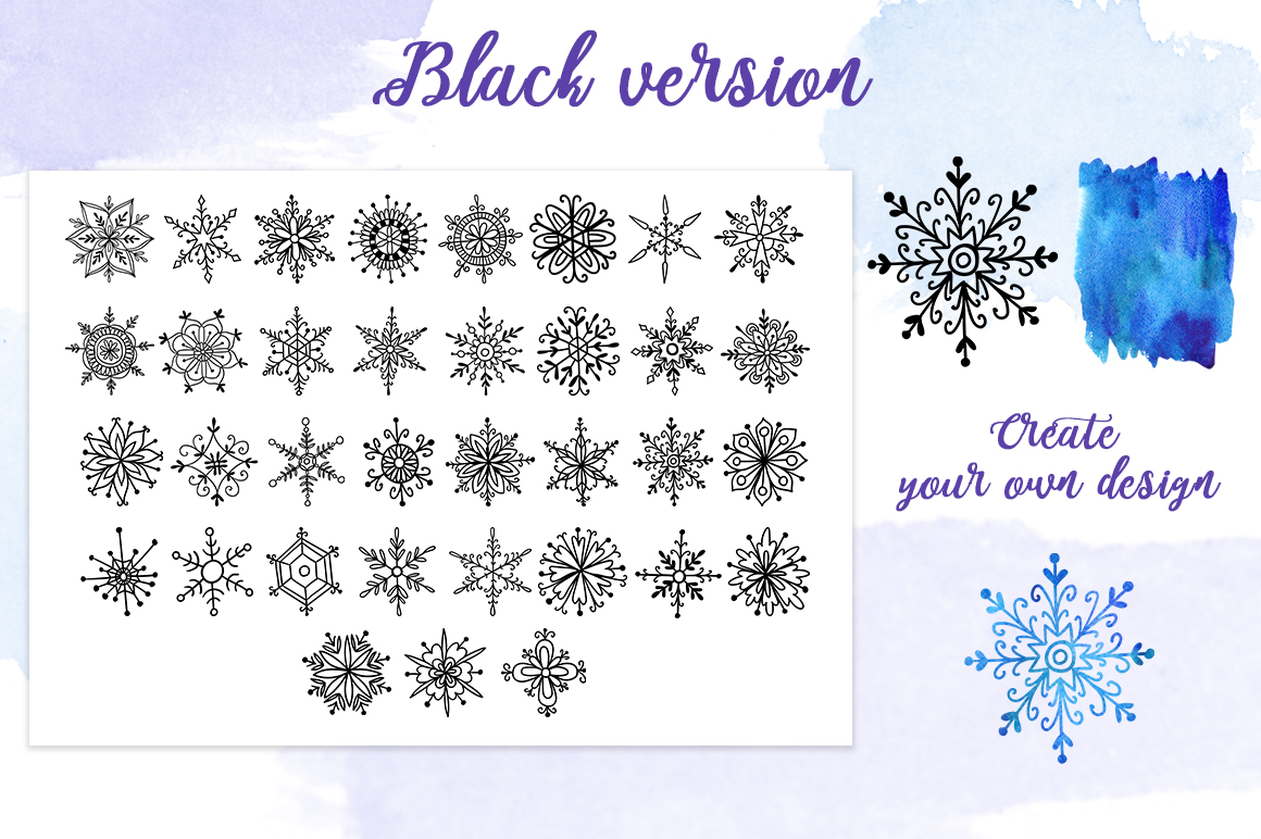 Watercolor snowflakes example image 3