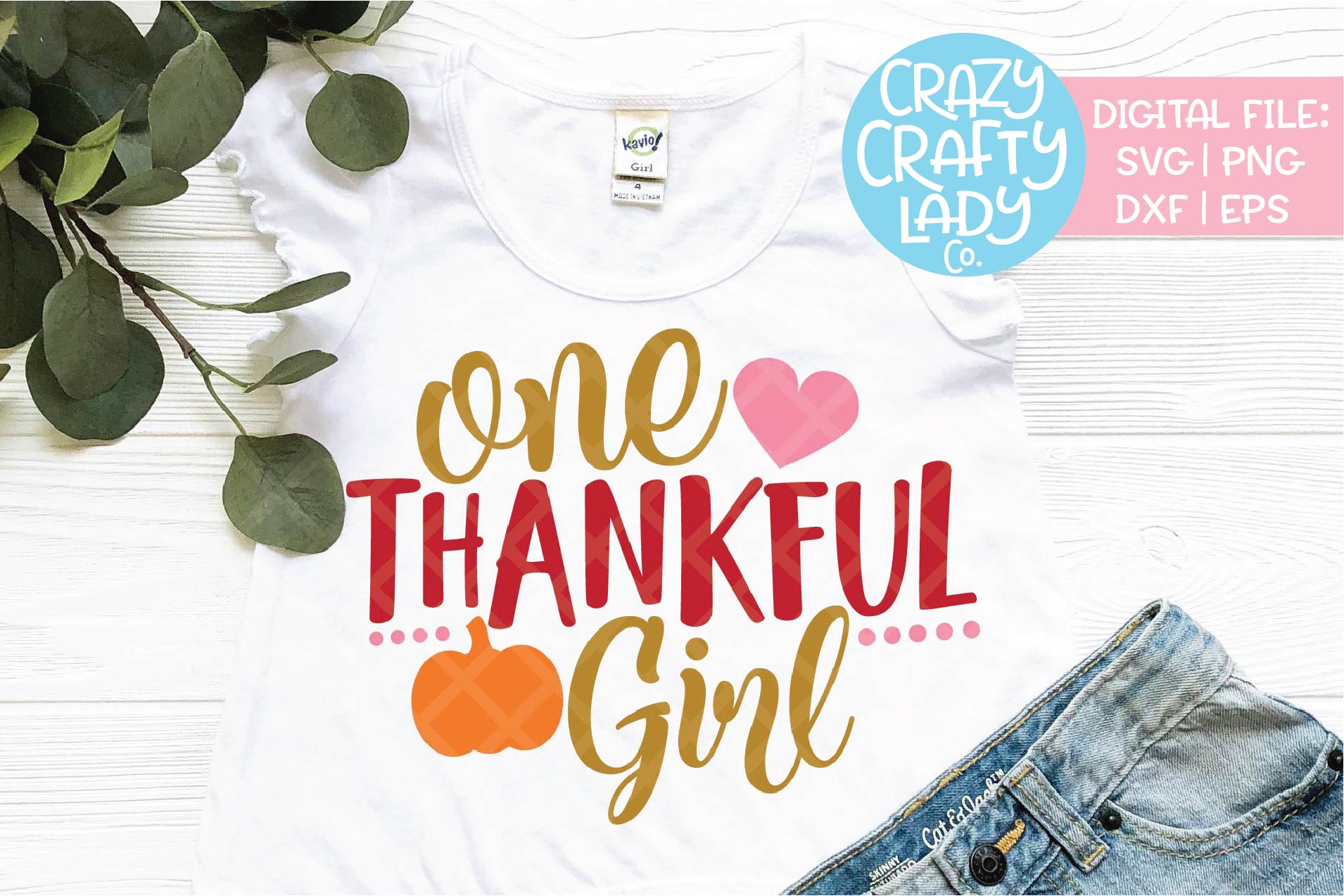 One Thankful Girl SVG DXF EPS PNG Cut File example image 1