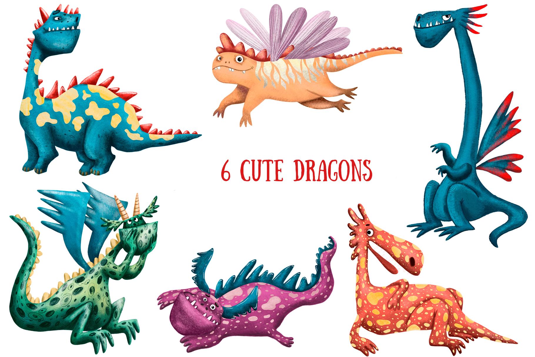 Cute Dragons - Clip Art Set example image 2