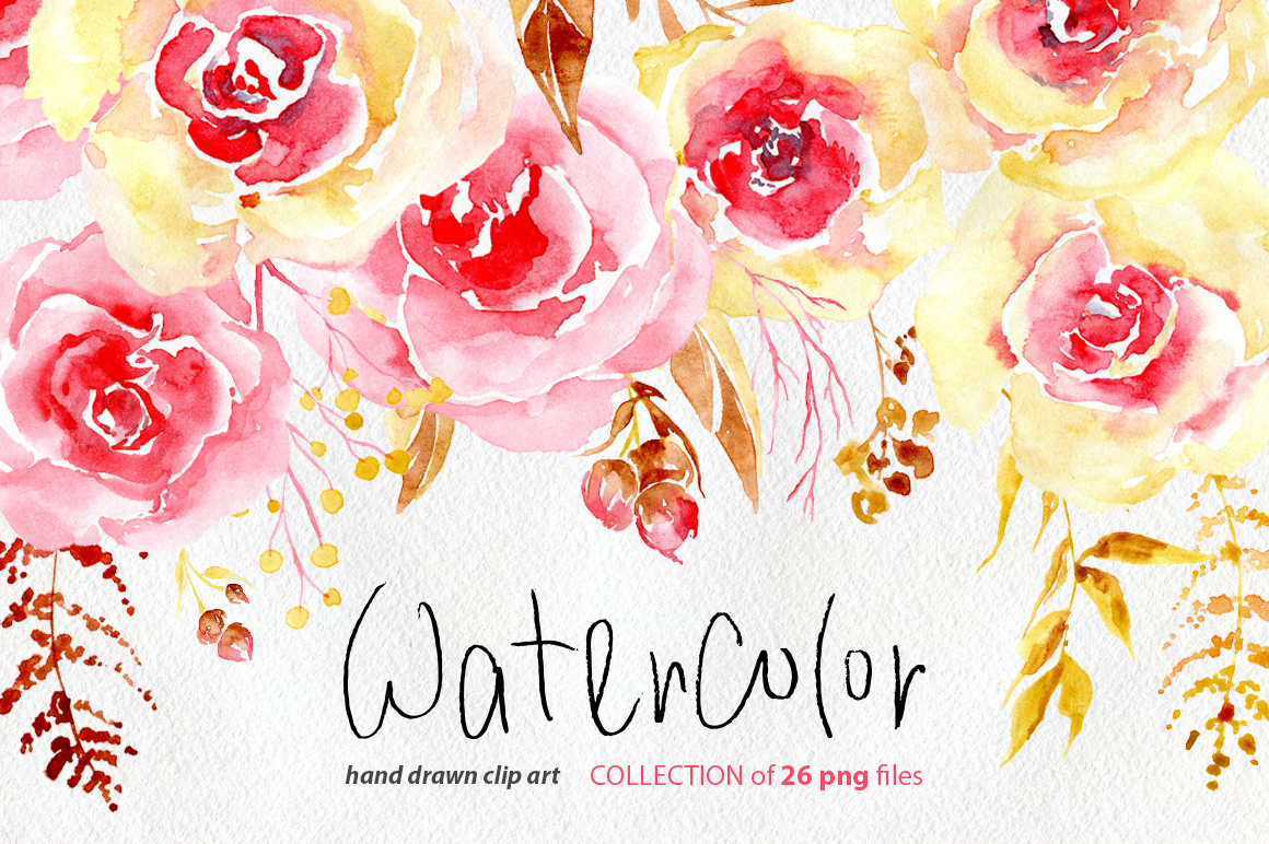 Watercolor Flowers Yellow Pink Png Example Image 1