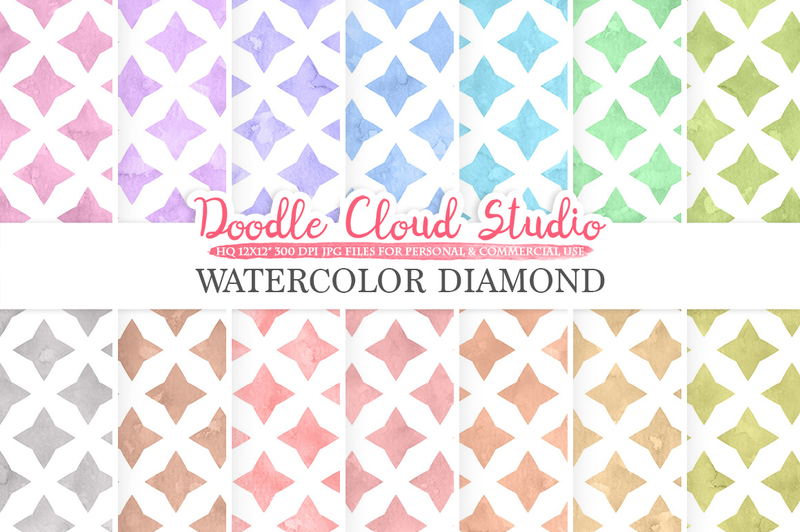 Watercolor Diamond digital paper, Diamond patterns, pastel watercolor background, Instant Download, for Personal & Commercial Use example image 1