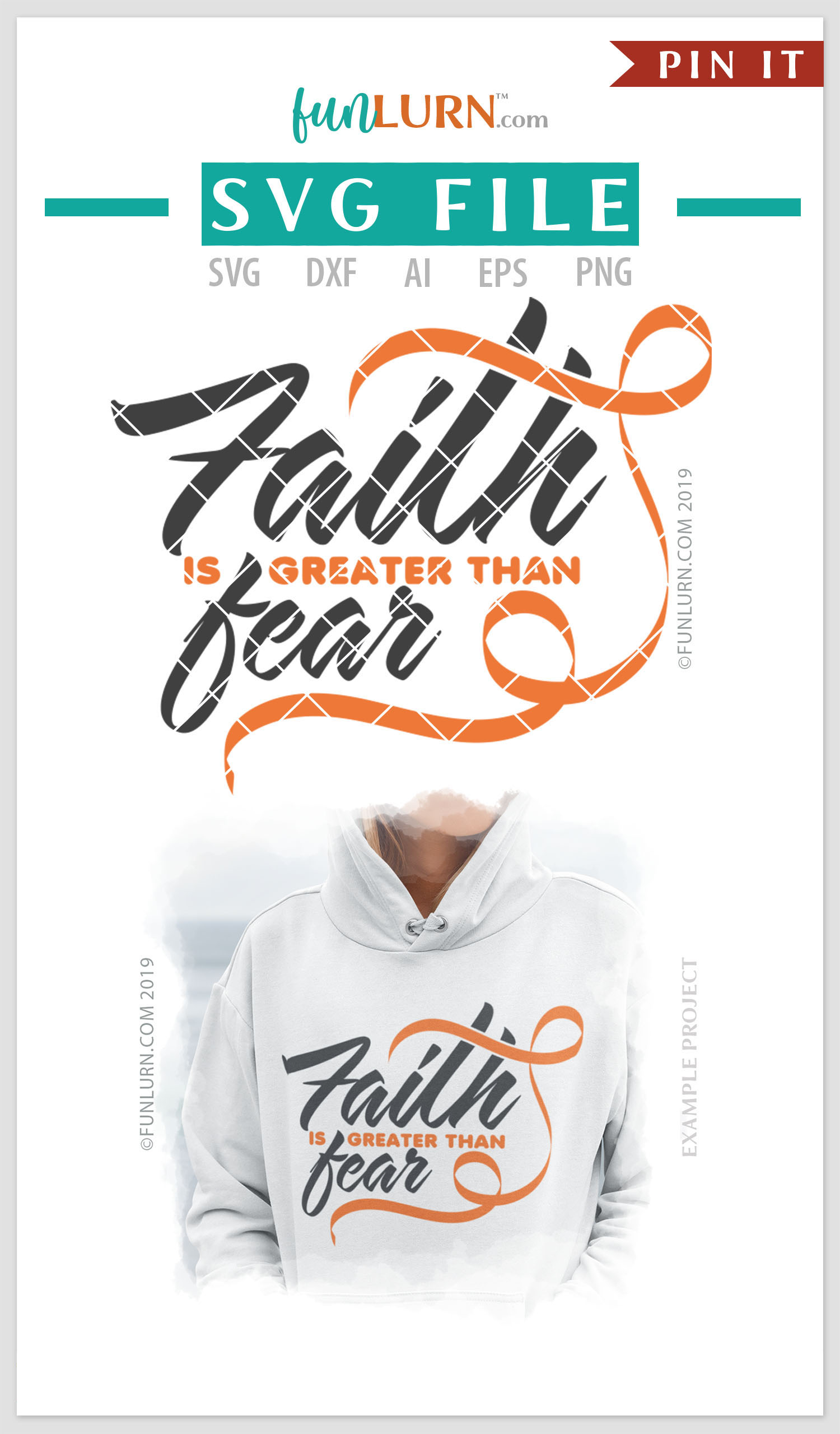 Faith is Greater Than Fear Orange Ribbon SVG Cut File example image 4
