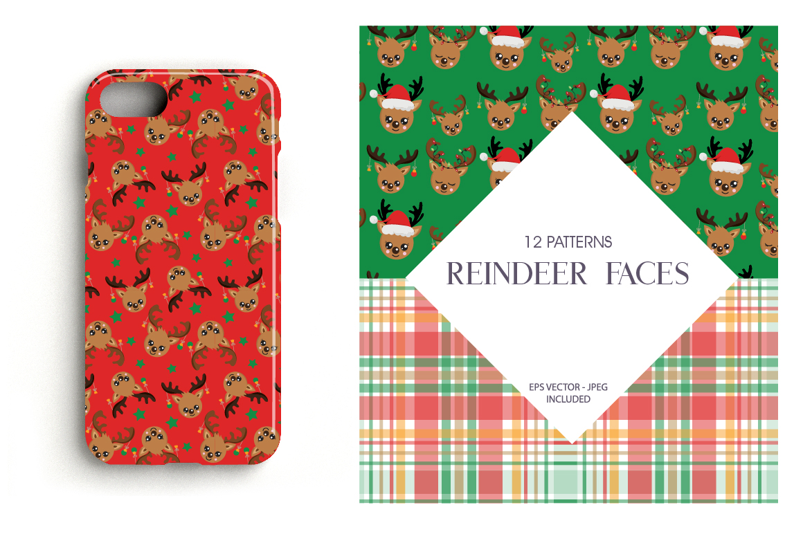 Reindeer faces Pattern collection, vector ai, example image 4