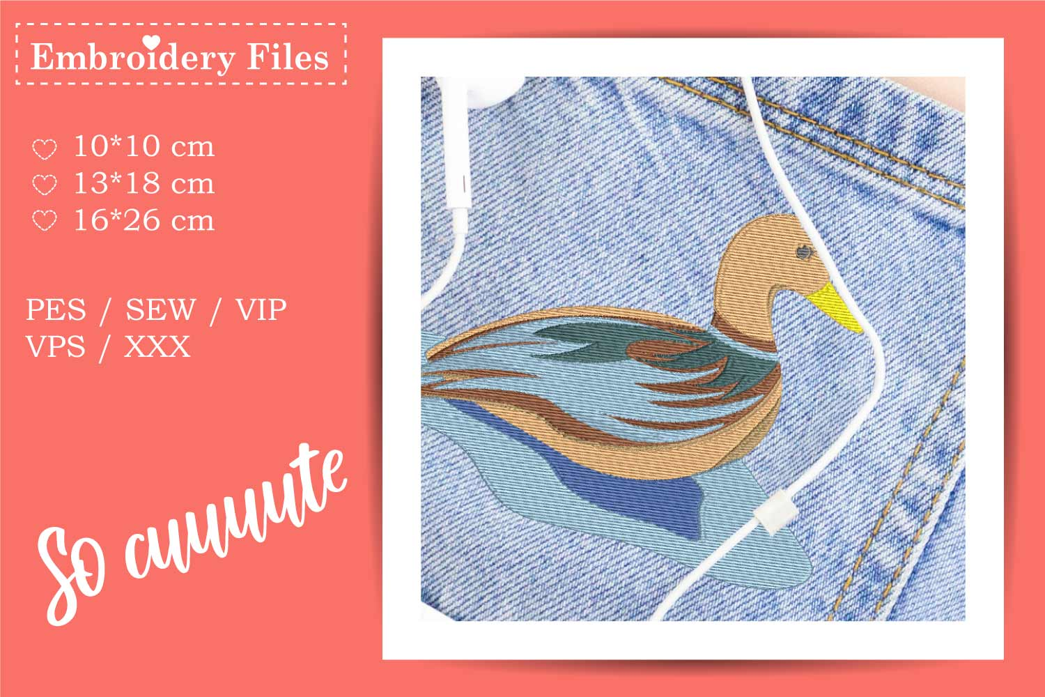 A cute Duck - Embroidery File for Beginners example image 3