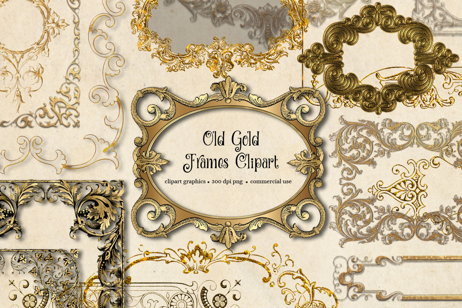 Old Gold Frames Clipart example image 2