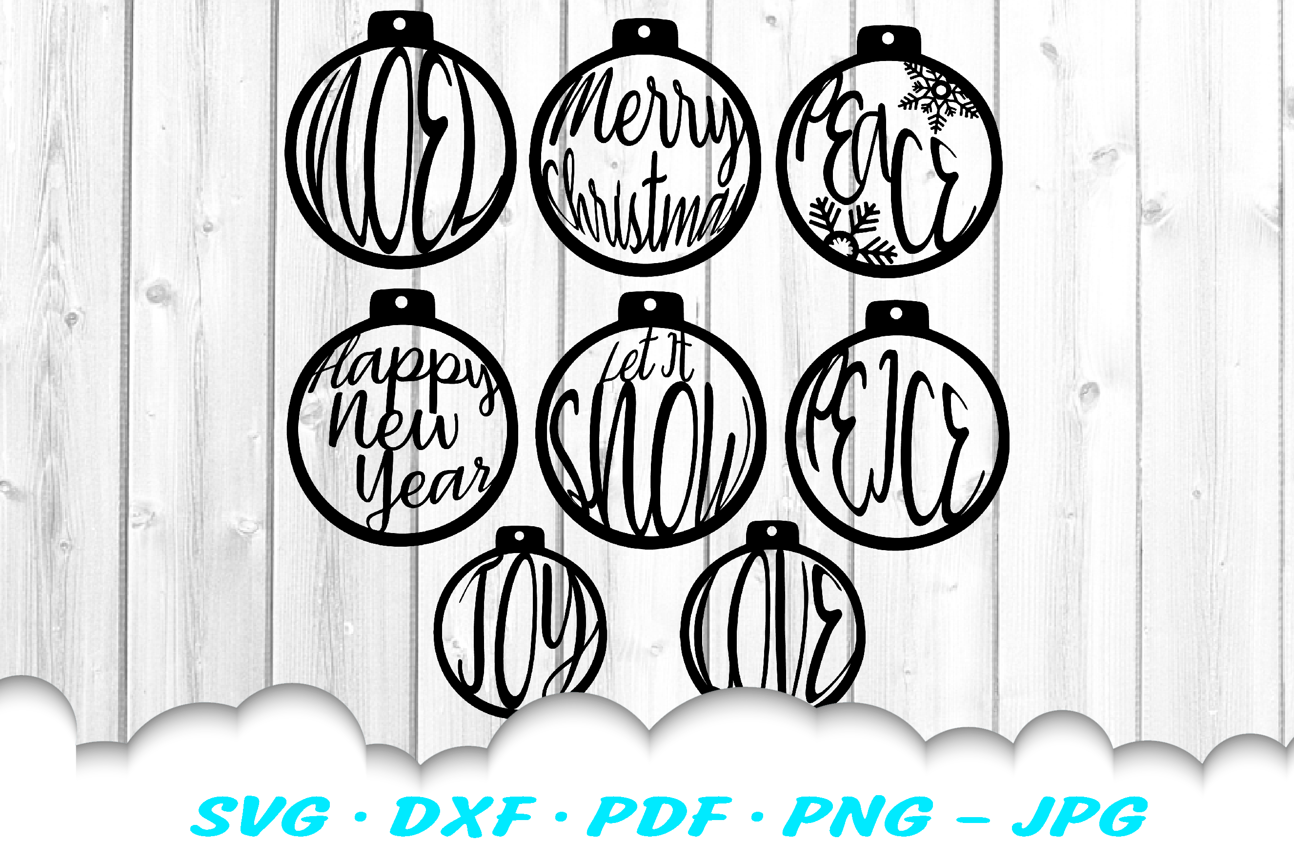 Christmas Ornament Earring SVG DXF Cut Files Bundle example image 2