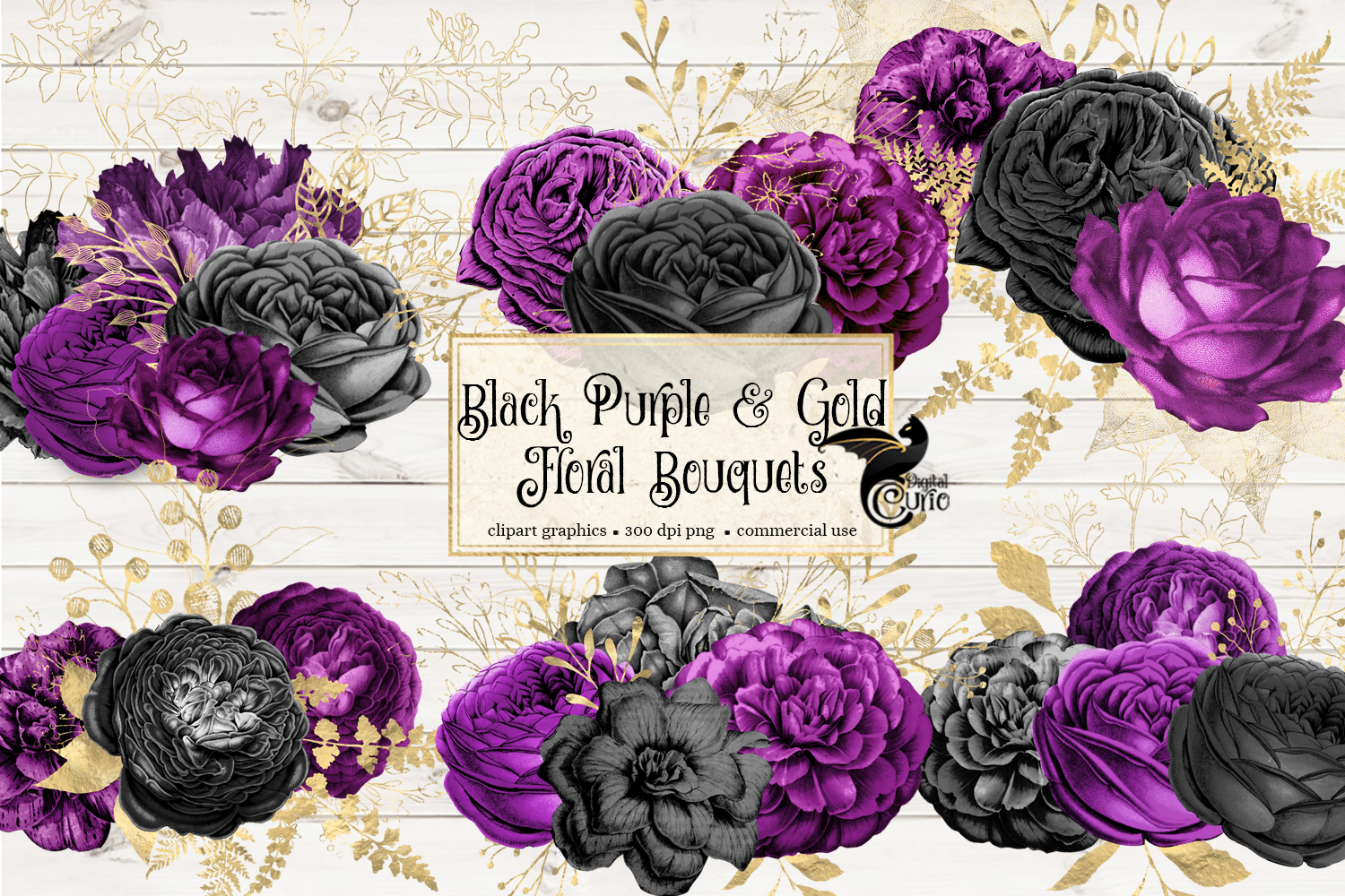 Black Purple and Gold Floral Clipart example image 2
