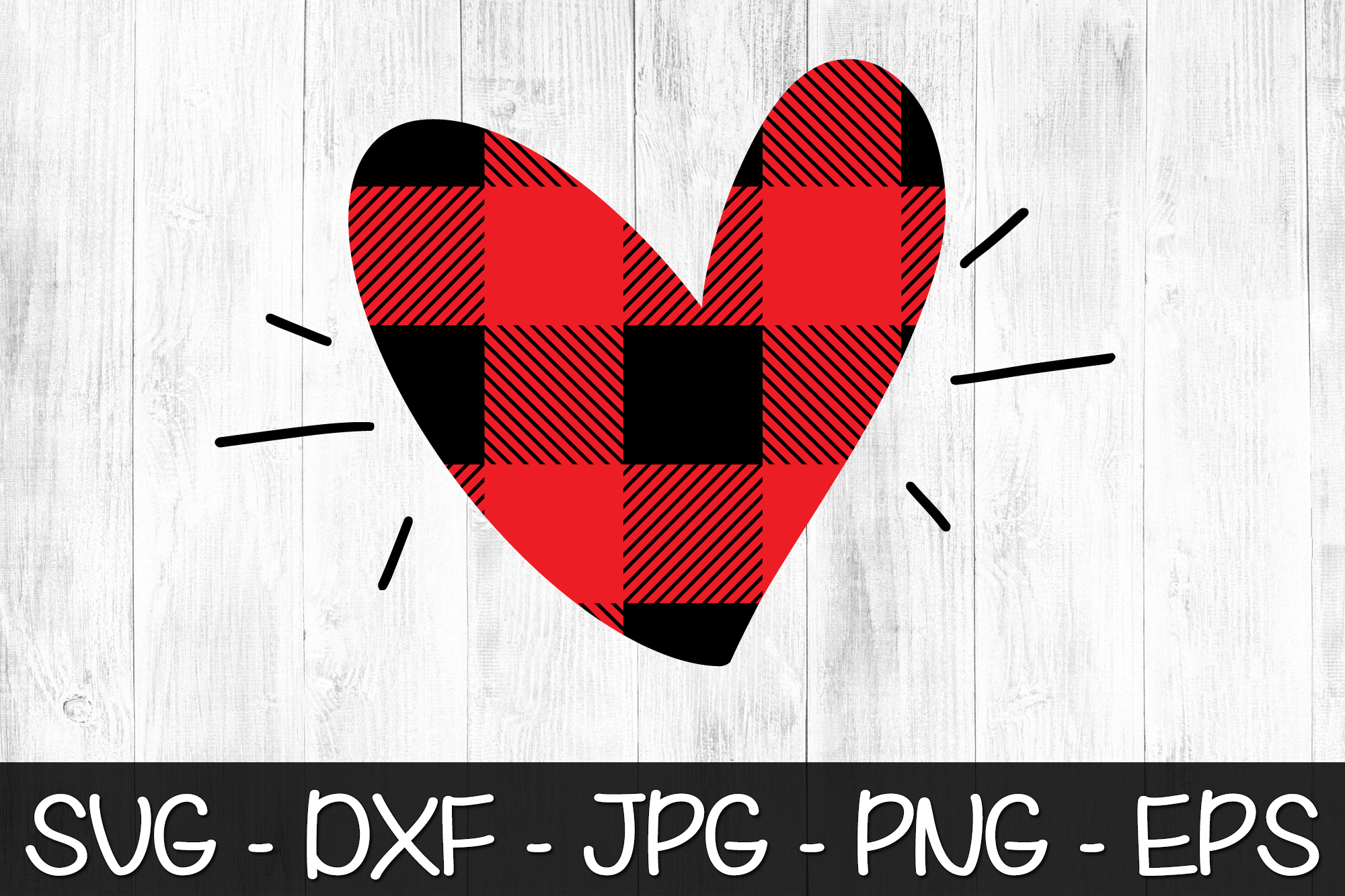 Valentine Heart Buffalo Plaid SVG EPS PNG Valentine's Day example image 2