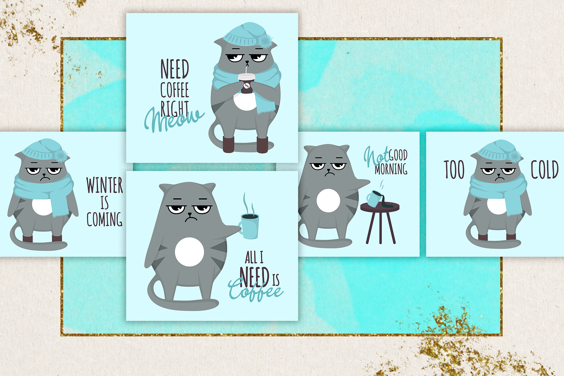 Grumpy cats vector collection example image 8