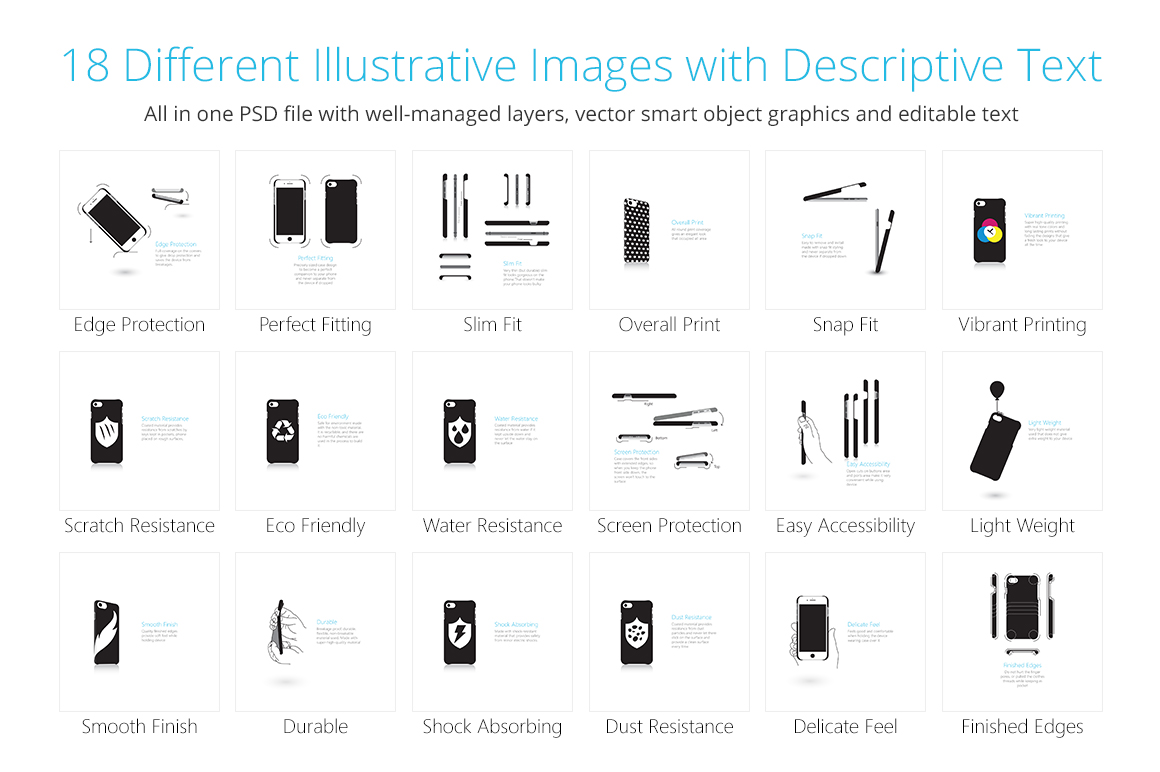 3d IMD Phone Case Features Illustrations Set example image 2