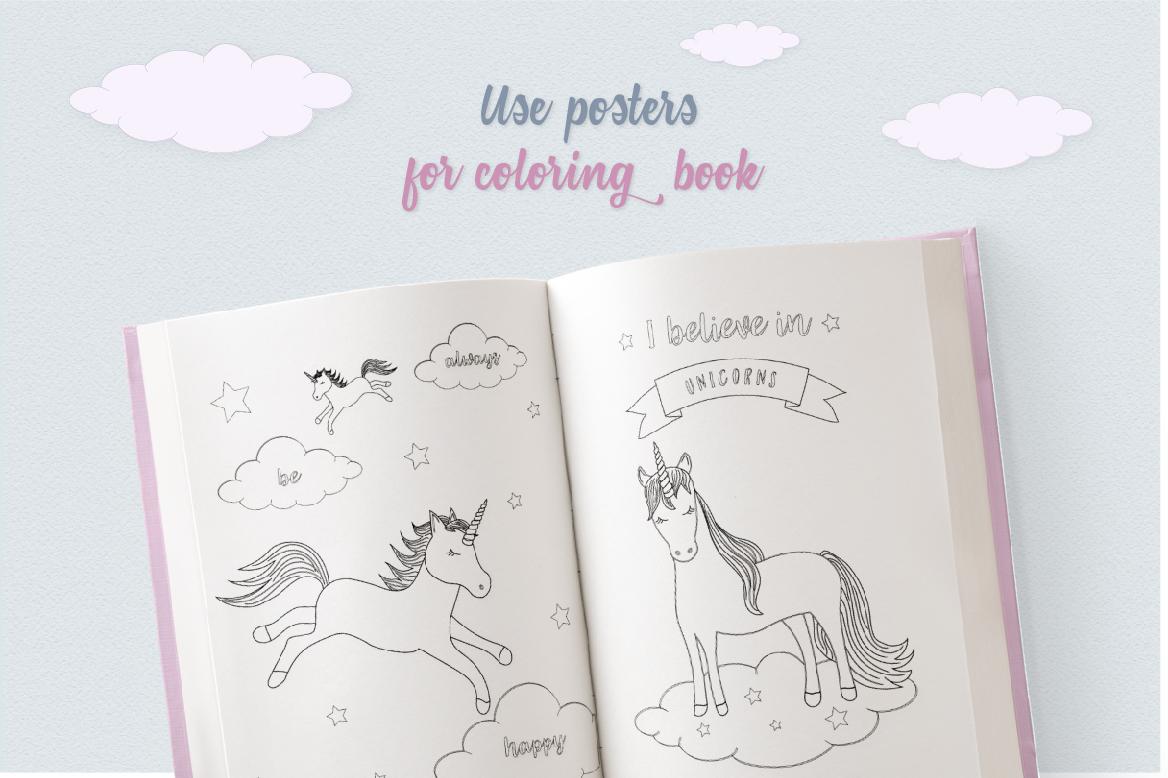 Cute Funny Unicorn Illustration Set example image 6