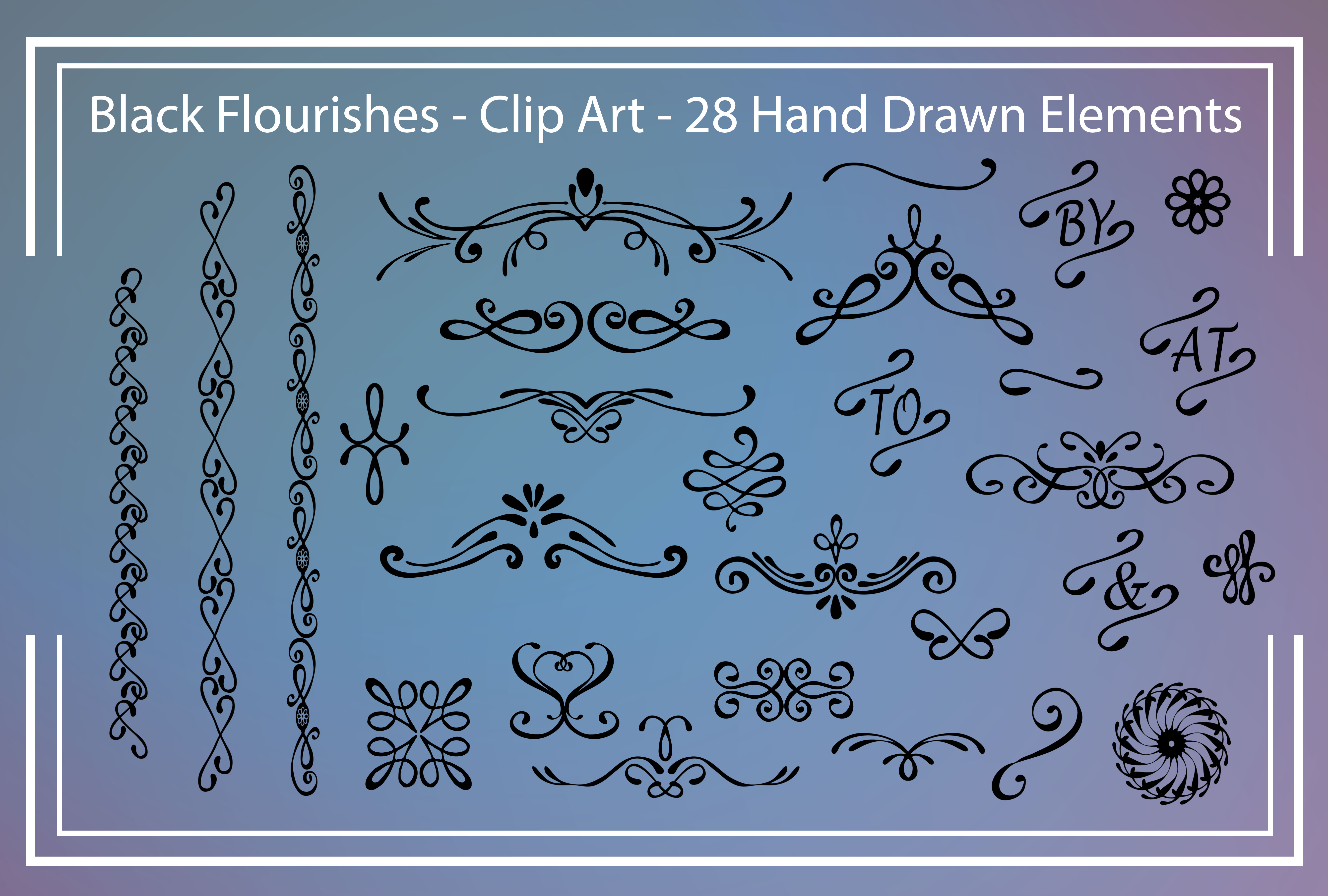 Black Flourishes - Clipart example image 1