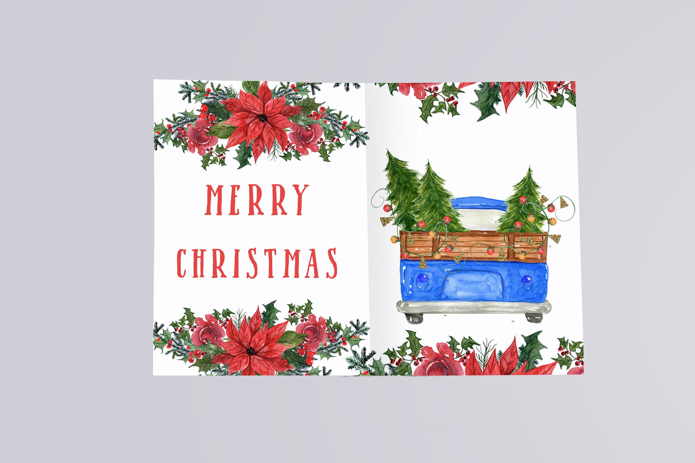 Watercolor Christmas Trucks clipart example image 9
