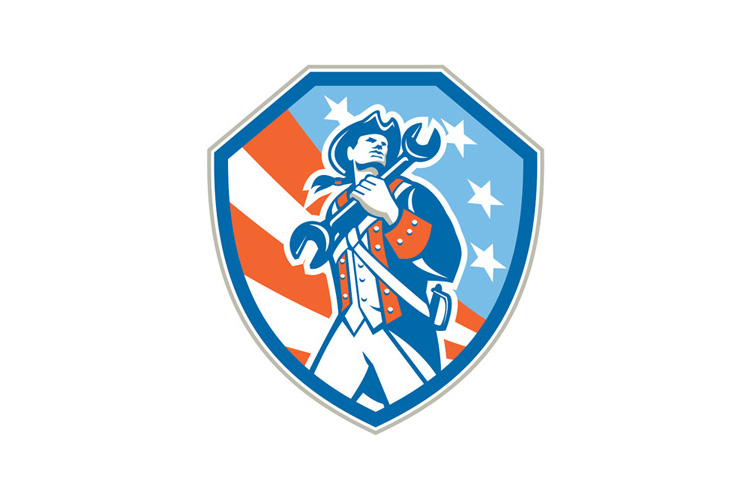 American Patriot Holding Wrench Shield Retro example image 1