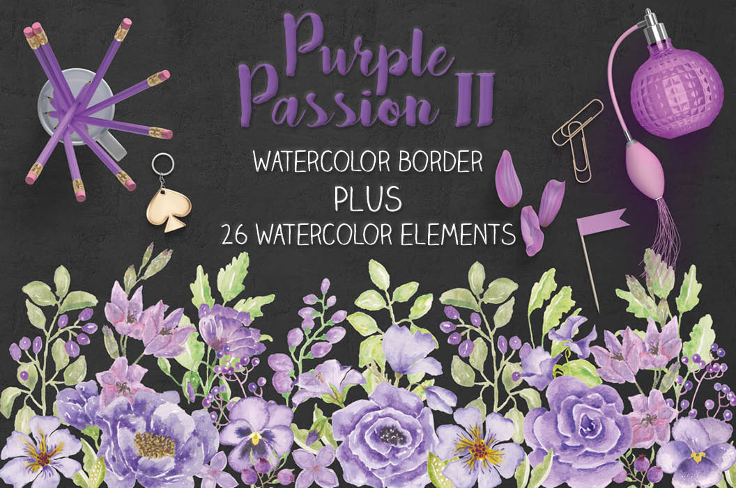 'Purple Passion II': watercolor border plus individual elements example image 1
