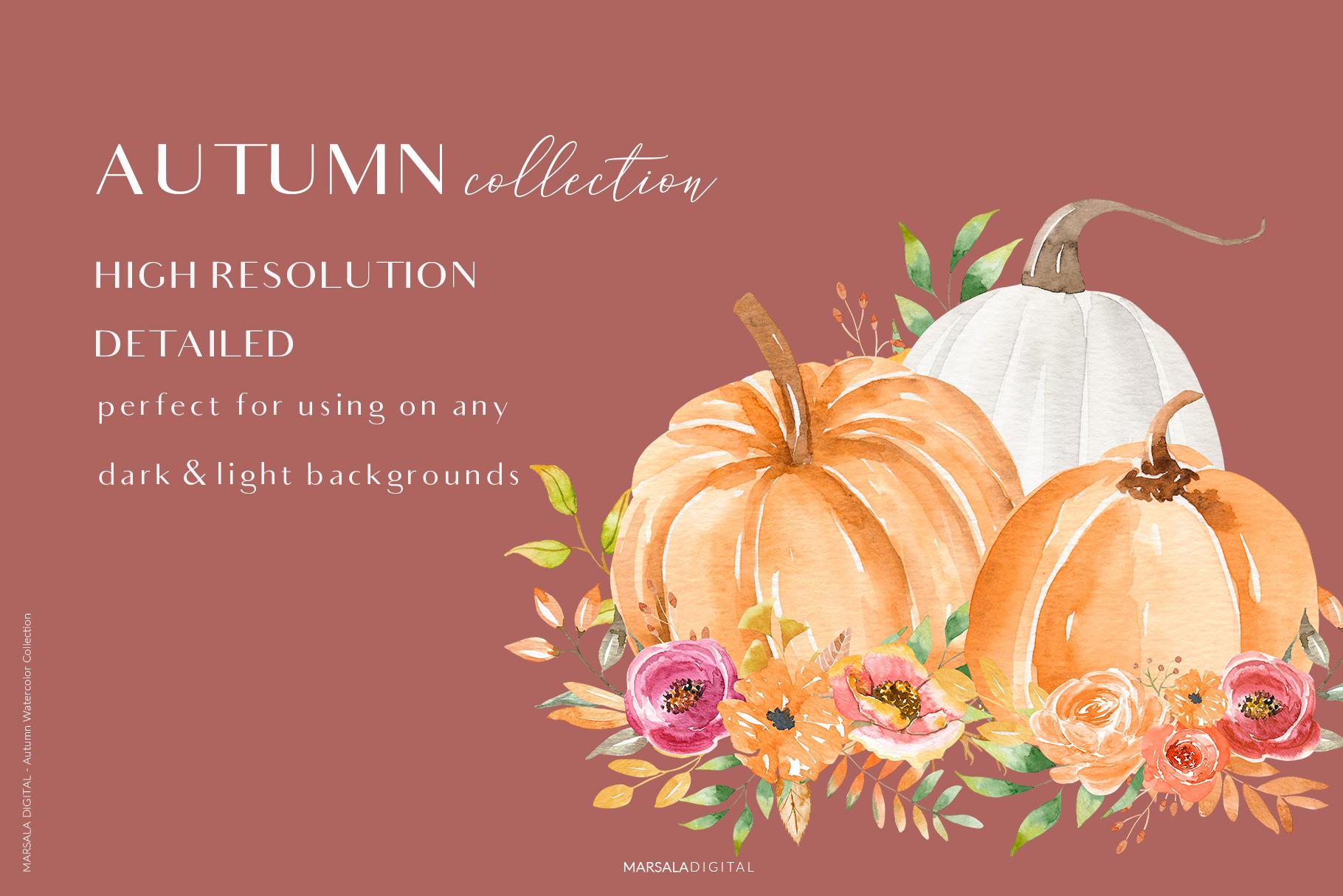 Autumn Watercolor Collection Pumpkins Arrangements example image 11
