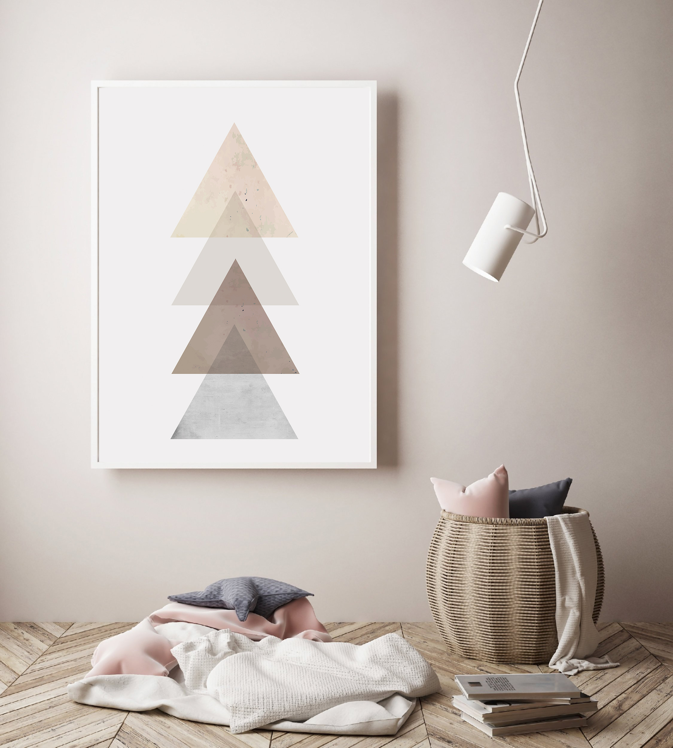 Triangle Wall Art, Rose Gold Geometric Decor, Scandinavian example image 3