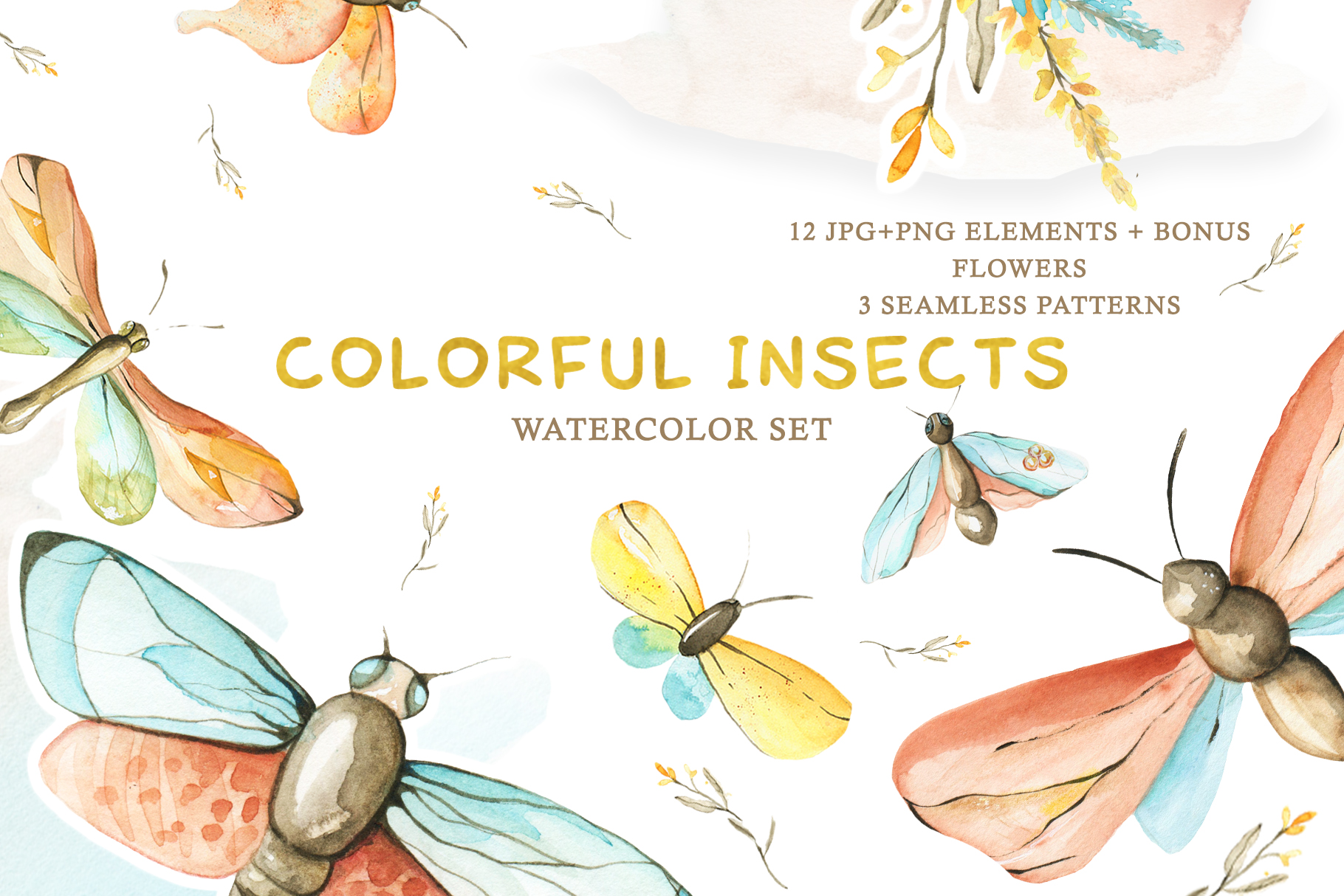 Watercolor Set Colorful Insects example image 1