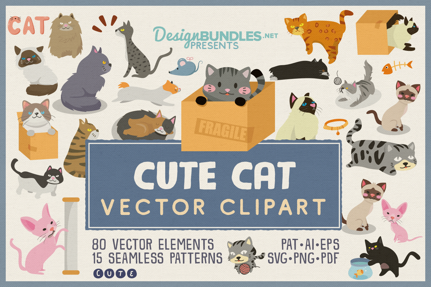 80 Cute Cat Vector Clipart & Seamless Patterns example image 1