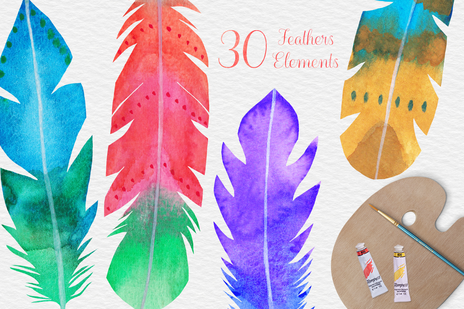 Watercolor Feathers Clipart, Watercolor Feather Illustration example image 3