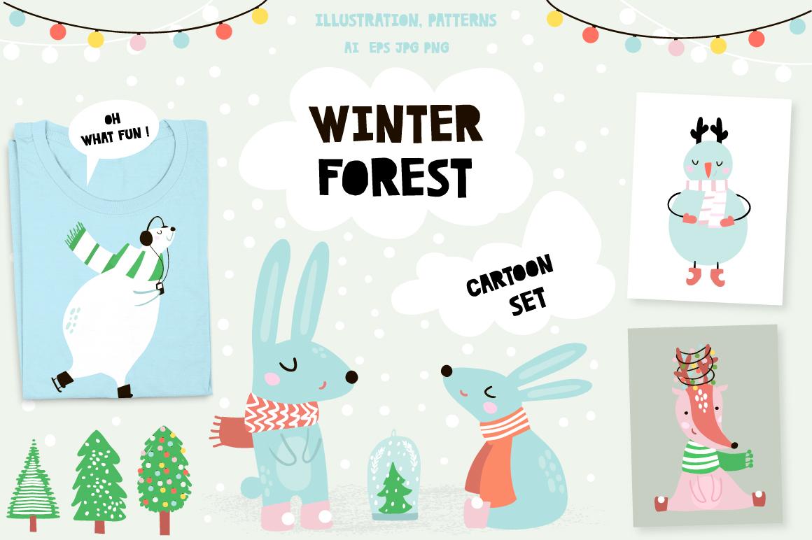 Winter forest cartoon set example image 1