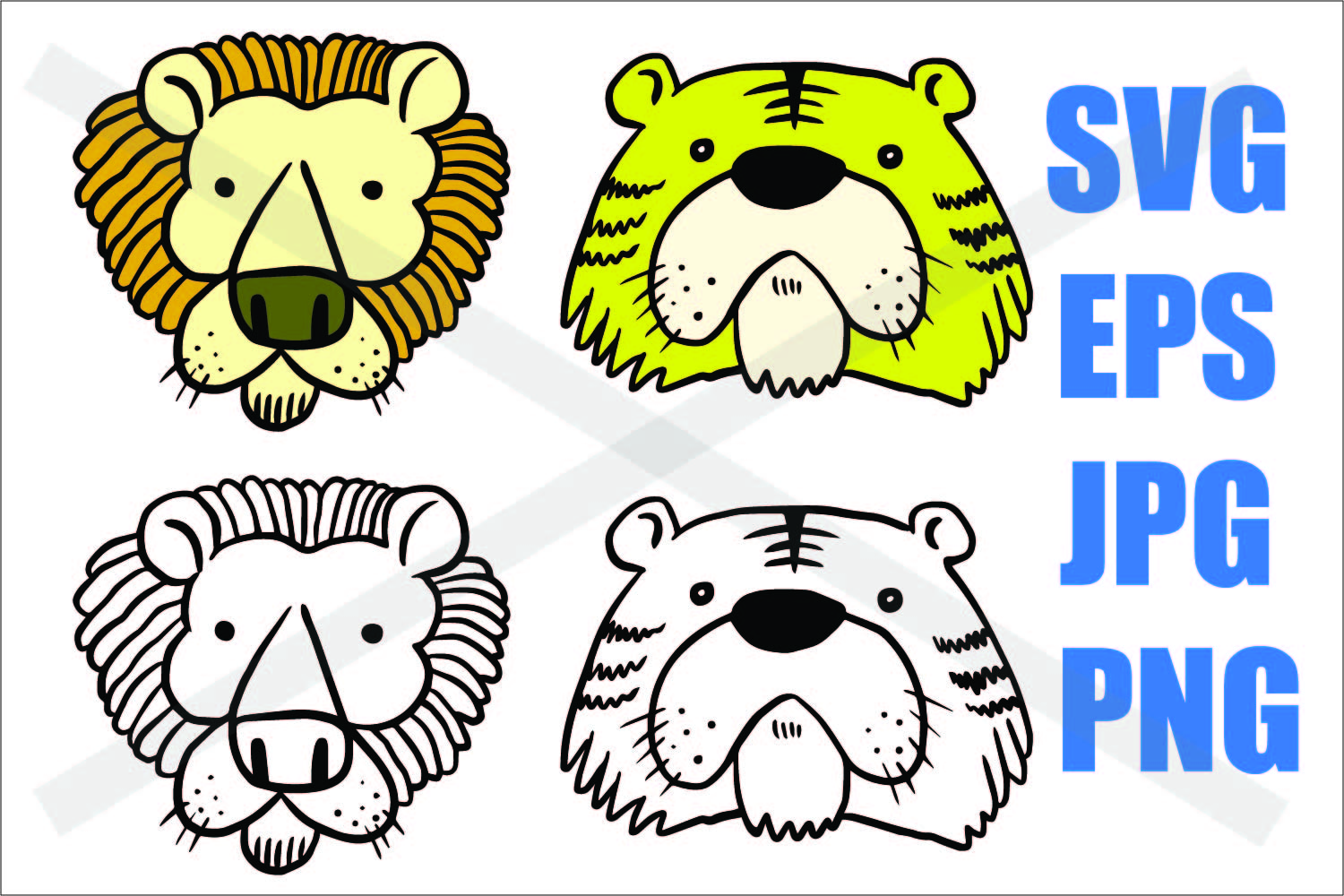 Tiger and Lion - Colored and Outline - SVG EPS JPG PNG example image 1