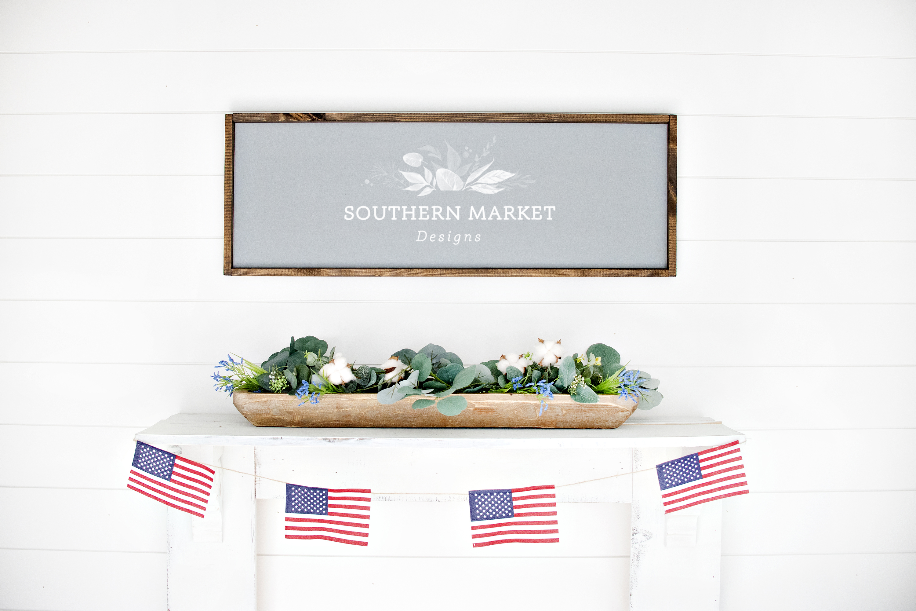Patriotic Summer Wood 12x36 Sign Mock Up Stock Photo example image 1