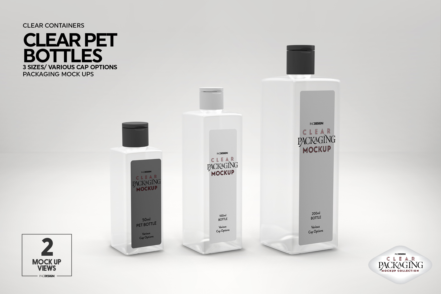 Clear Squared PET 3Bottles Packaging Mockup example image 7