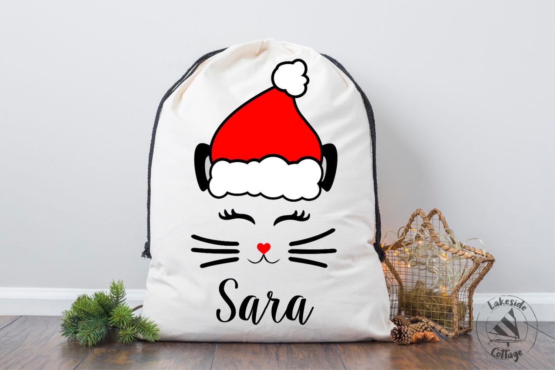 Santa Cat Face Santa Claus Christmas SVG Design example image 3