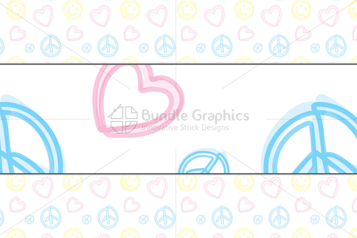 Freehand Style Love, Peace, Balance Pattern Set example image 2