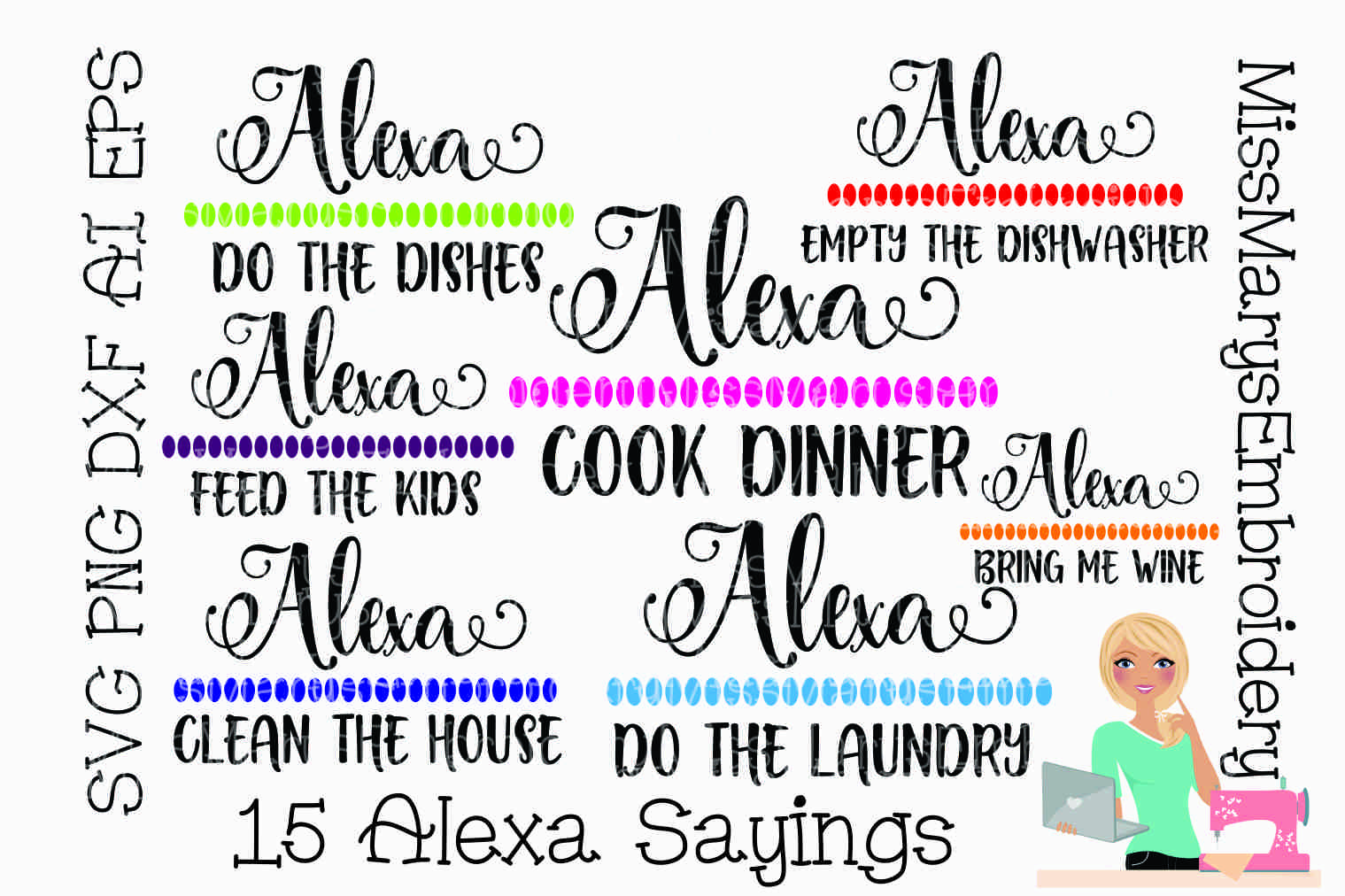 15 Alexa Sayings Bundle SVG Cutting File PNG DXF AI EPS example image 1