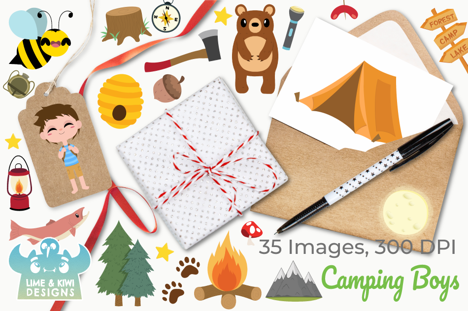 Camping Boys Clipart, Instant Download Vector Art example image 4